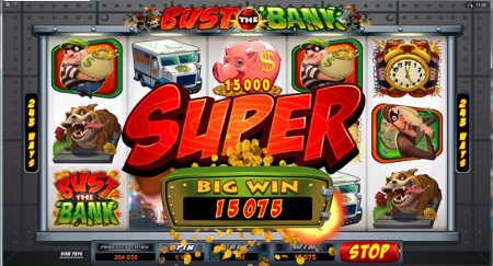 Screenshot image of the Bust Da Bank slot machine game from microgaming