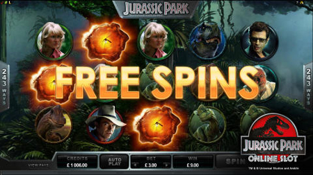 Screenshot image of the Jurassic Park slot machine game