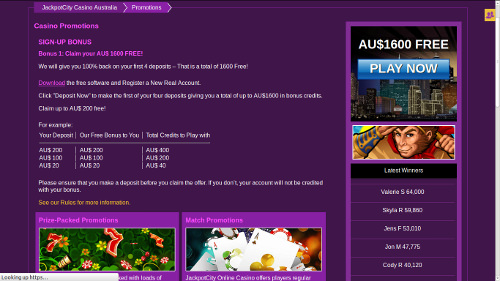 Screenshot image of Jackpot City online casino promotions