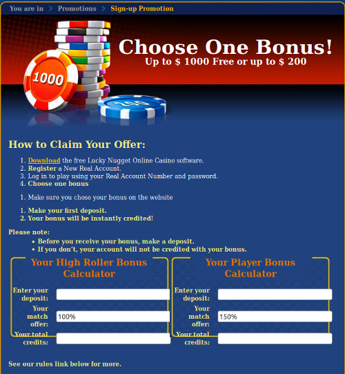 Screenshot image of Lucky Nugget online casino promotions