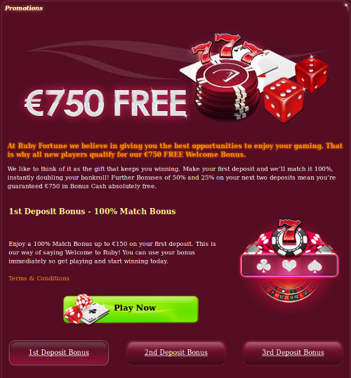 Screenshot image of Ruby Fortune online casino promos