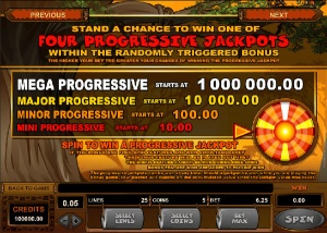 Screenshot image of the progressive Jackpot information of Mega Moolah slot