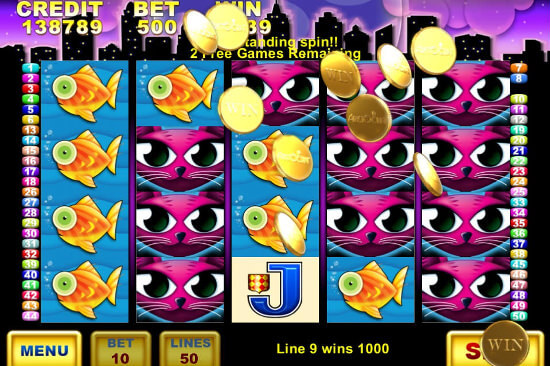 Screenshot image of the Miss Kitty slot machine game showing the coin shower win