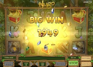 Screenshot image of Hugo slot machine showing a 2,000 bonus win